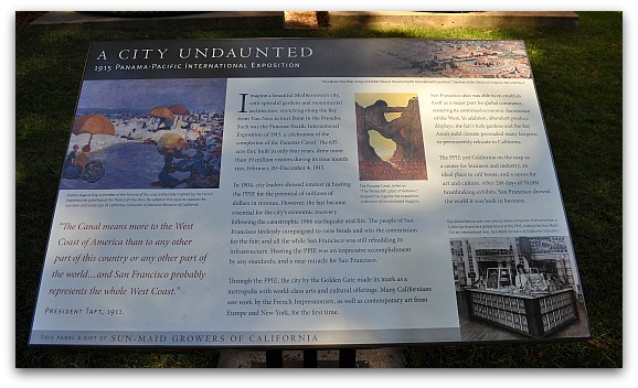 A City Undaunted, a plaque at the Palace of Fine Arts describing the event.