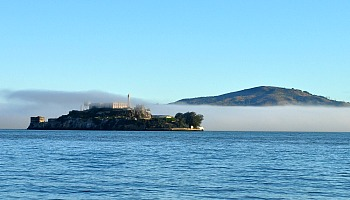 Alcatraz Island covered in fog