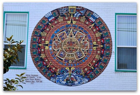 aztec calendar mural mission