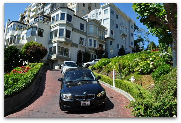 cars on steep lombard