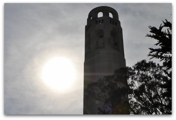 Coit Tower with Sun