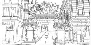 Chinatown Gate Coloring Page