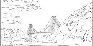 Golden Gate Bridge Coloring Page