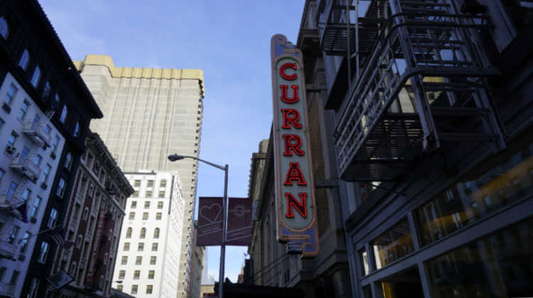 Lit sign outside the Curran Theater