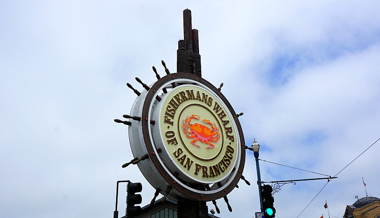 Fisherman's Wharf Sign on a Cloudy Day