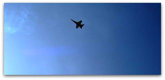 Single Blue Angles jet over the San Francisco Bay