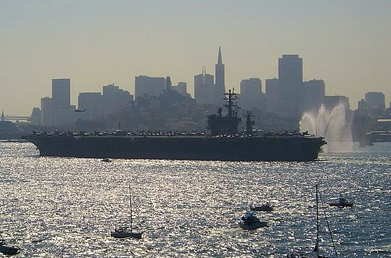 fleet week aircraft carrier in the san francisco bay