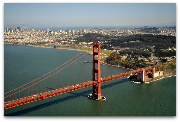 flying over golden gate bridge