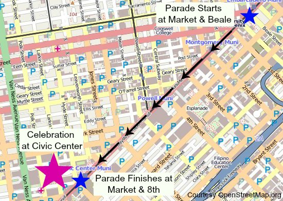 gay pride parade map