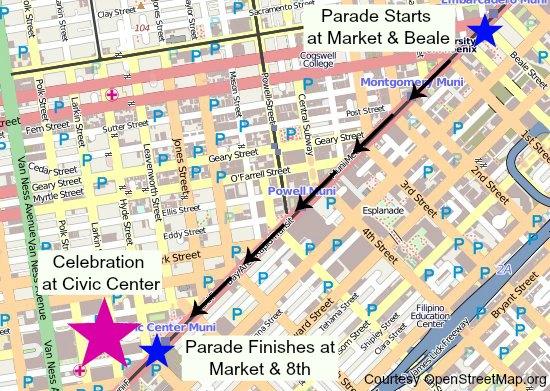 from Allen sf gay pride parade route