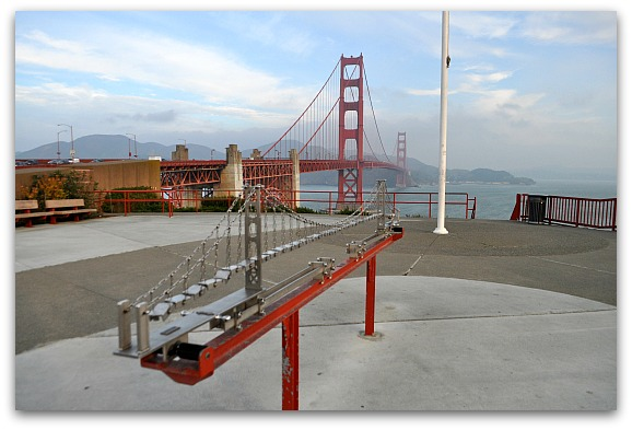 Golden Gate Bridge with some of the outdoor museum