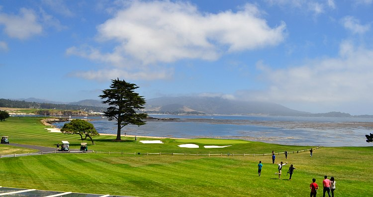 Golfing Pebble Beach with Water in the Background
