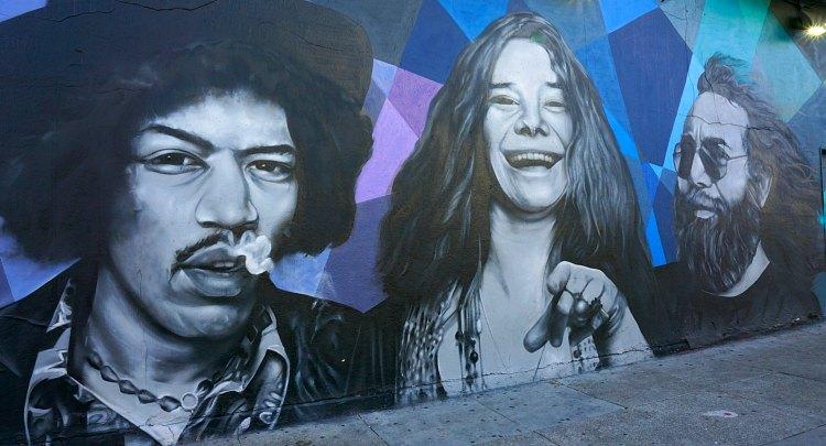 Mural of Janis Joplin, Jerry Garcia, and Jimi Hendrix