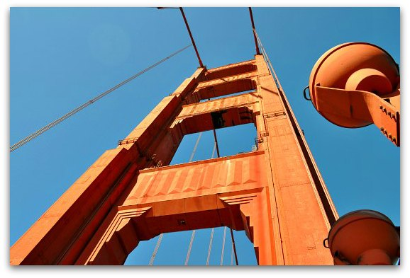 looking up at golden gate bridge