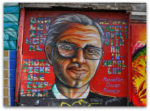 Mission District Murals on oscar romero to soldiers