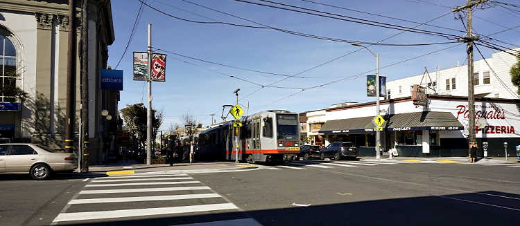 N Judah Train in the Inner Sunset