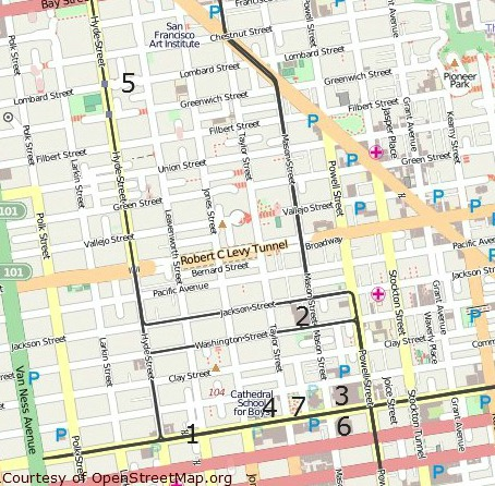 nob hill and russian hill attractions map