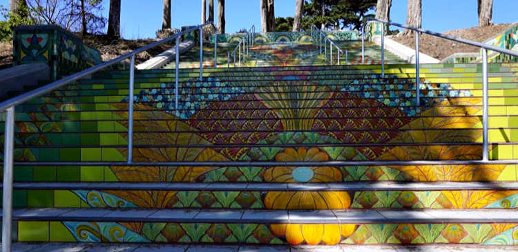 Orange and yellow tiled stairs