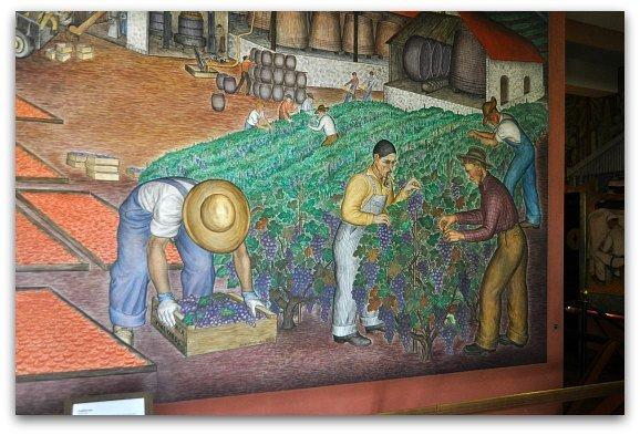 picking grapes mural