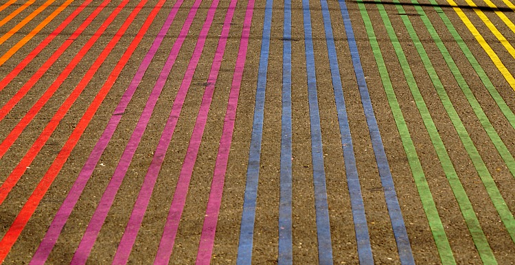 Rainbow sidewalks in Castro district in San Francisco