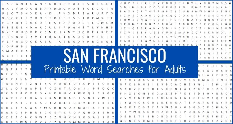 San Francisco Word Search Printables for Adutls