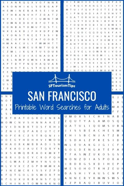 San Francisco Printable Word Searches for Adults