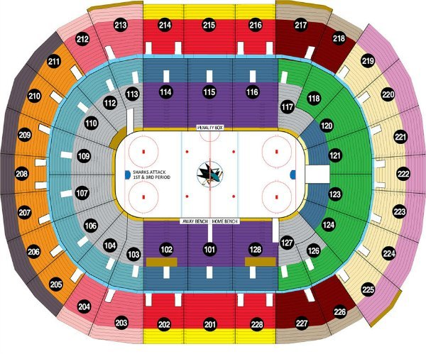 San Jose Sharks Seating Map
