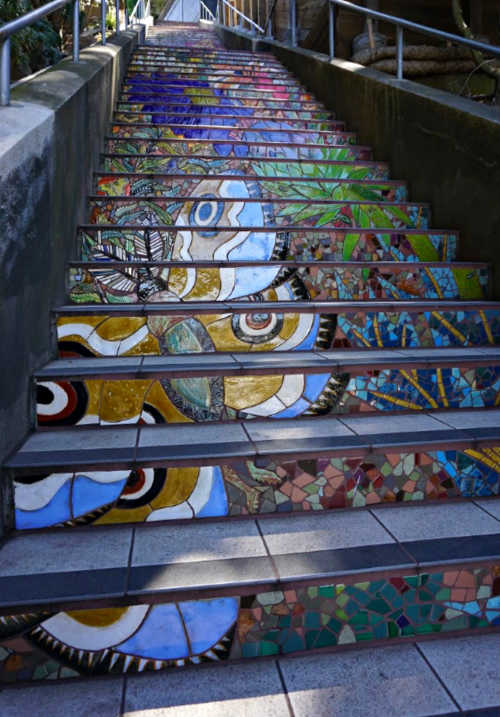 Second Section of Mosaic Stairs in San Francisco