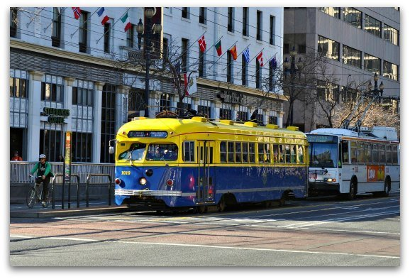 blue street car in sf