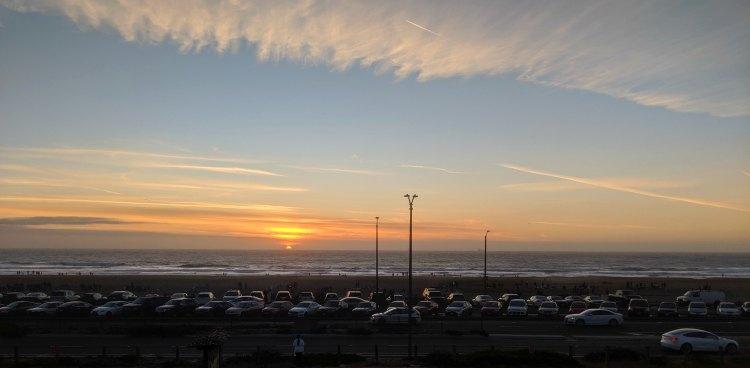 Sunset over Ocean Beach from Beach Chalet