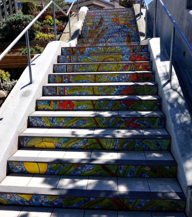 Top of the mosaic stairs