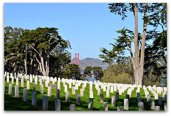 Golden Gate Bridge from the National Cemetery in the SF Presidio