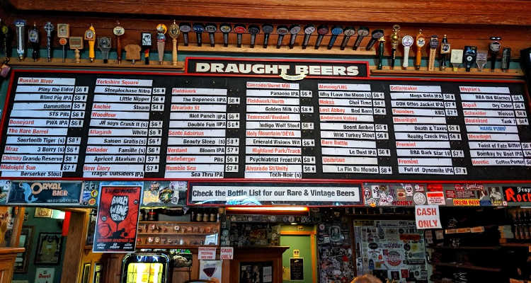 The drink list at Toronado in San Francisco.