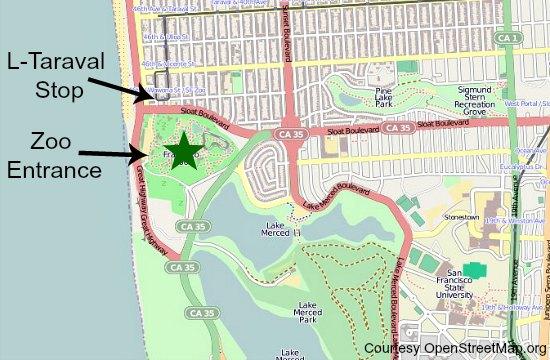 transit map to sf zoo