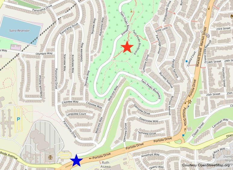 Twin Peaks Boulevard Trailhead maps