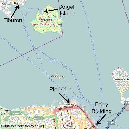 angel island ferry map