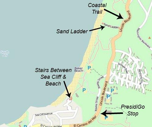 baker beach map
