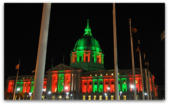 SF's City Hall Decked Out in Green & Red for Christmas