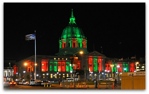 Red & Green Lights on SF City Hall