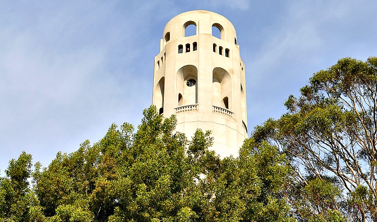 Coit Tower, top of it with trees around