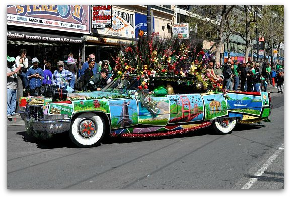 colorful car in sf parade