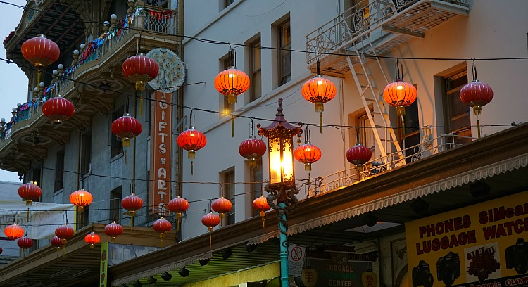 Grant Street Lights in Chinatown in San Francisco