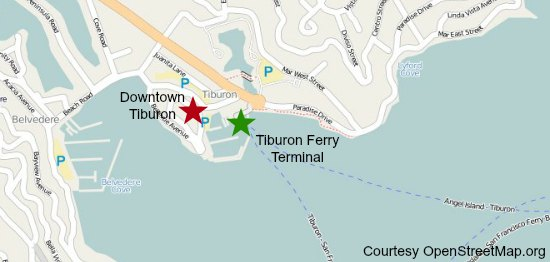 map of tiburon ferry