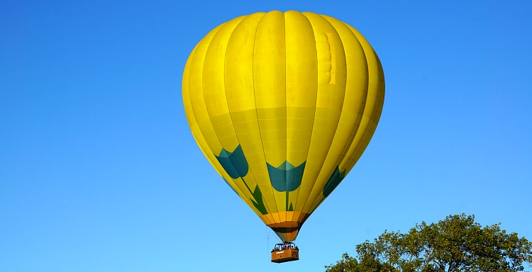 Hot air balloon over the Napa Valley in July