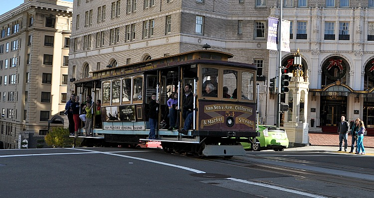 Cable car in front of Mark Hopkins in SF