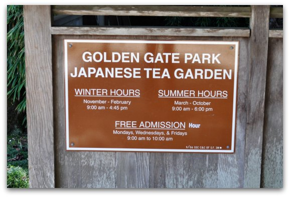 hours sign japanese tea garden