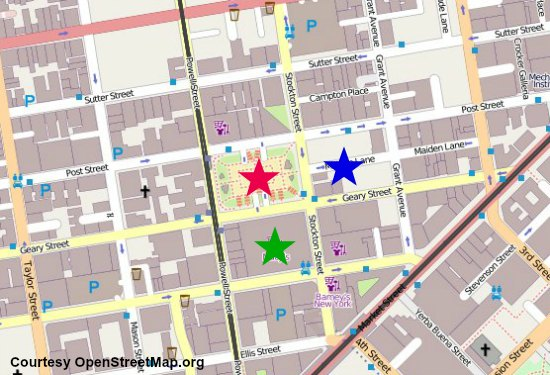 map of union square shopping