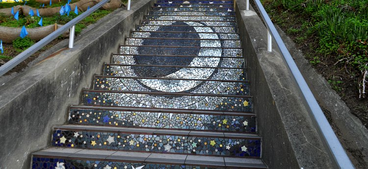 The top two sections of the 16th Avenue Mosaic Stairs.