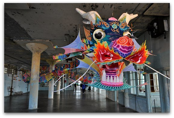 Ai Weiwei exhibit in the machinery building on Alcatraz.