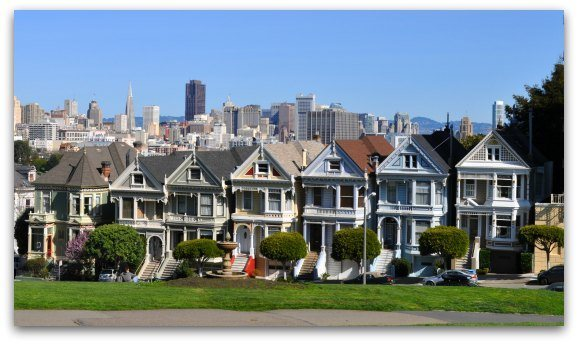 The painted ladies of Alamo Square in SF.